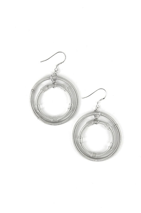 large silver double loop piano wire earring