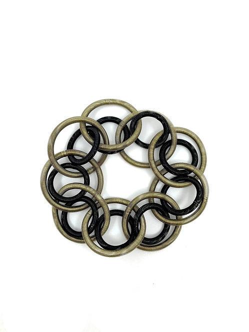 bronze and black loop bracelet