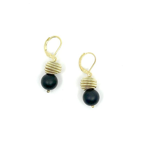 Black Geode w. Gold Coil Earring