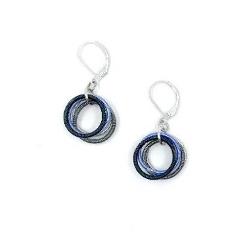 blue-blk-silver loop earring