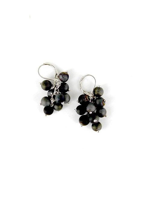 earring grape cluster silver/gray