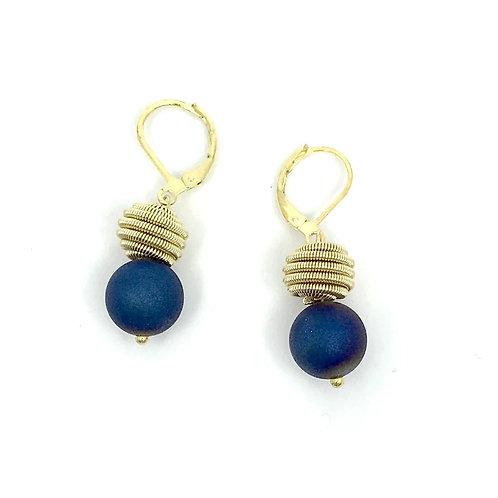 Blue geode w. gold coil earring