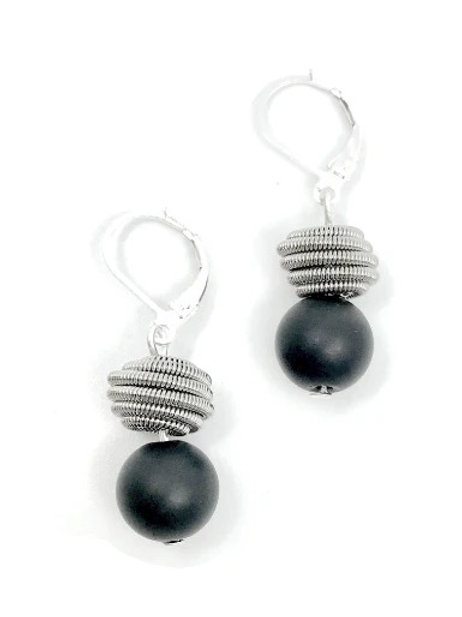 matte black onyx with silver coil earring