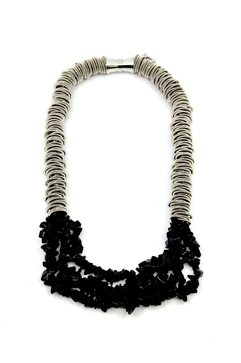 Silver spring ring necklace with 4 strands blue sandstone