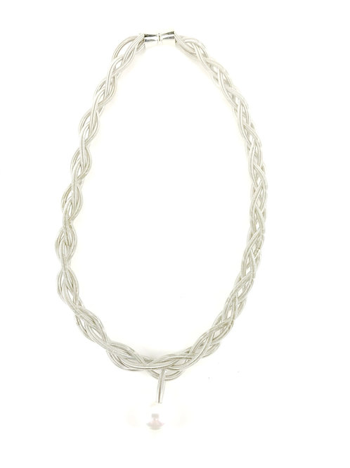 silver braided necklace with white pearl drop