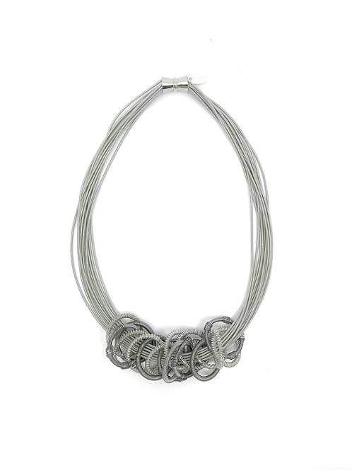 silver multi strand wire necklace with chain of rings