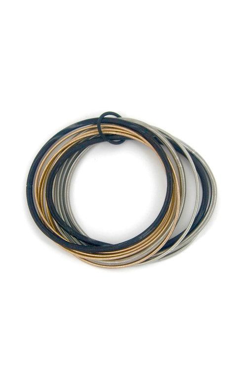 blk-silver-rose multi strand bracelet