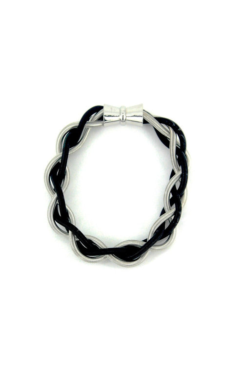 silver-black braided bracelet with magnet