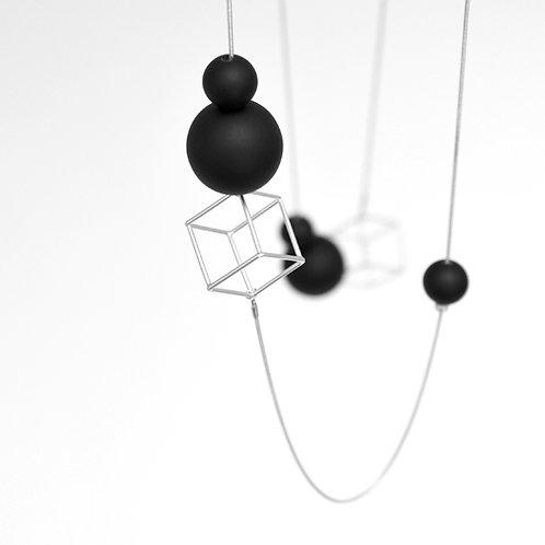 21516 SB Cube & Orbs Silver Black