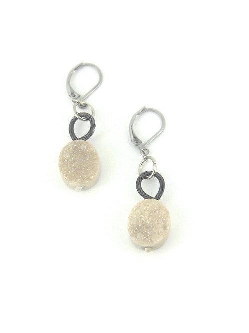 slate earring with white druzi drop