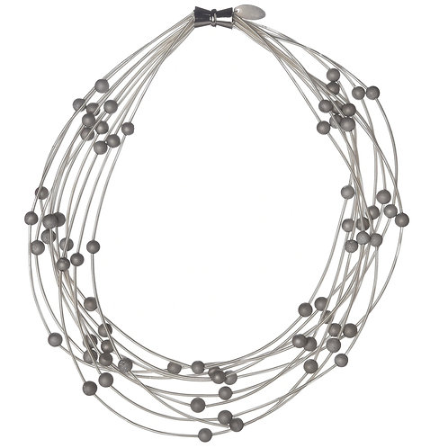 10 layer white necklace with silver geo