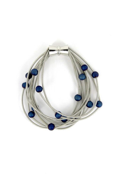 10 layer silver bracelet with blue geo