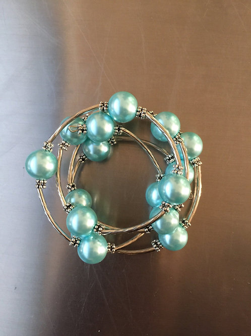 blue shell pearl wrap bracelet