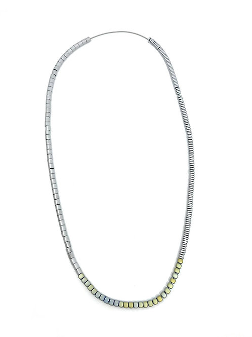 long industrial metal beads necklace with green