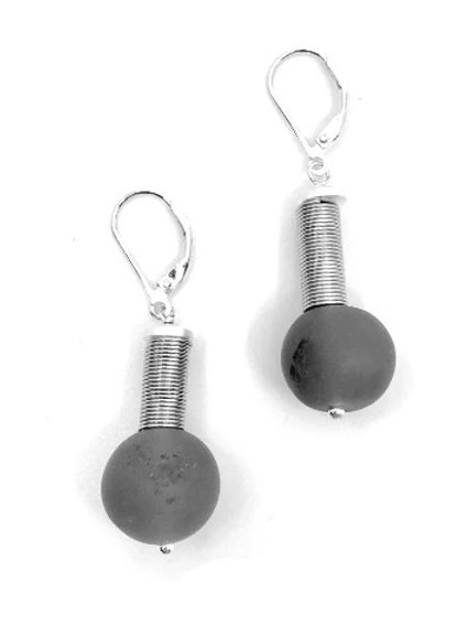 silver wire with grey geode stone earring