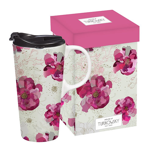 TURNOWSKY PINK DAISY TRAVEL MUG WITH HANDLE IN LIDDED BOX