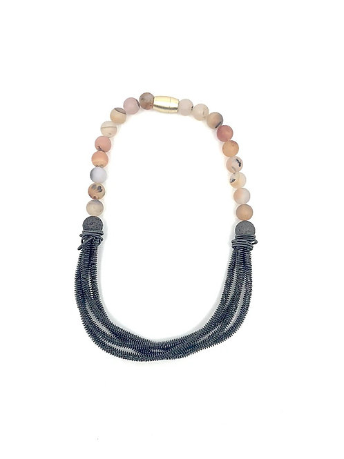 rose bead necklace with 4 strand black twisted wire