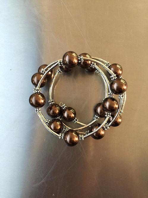 brown shell pearl wrap bracelet