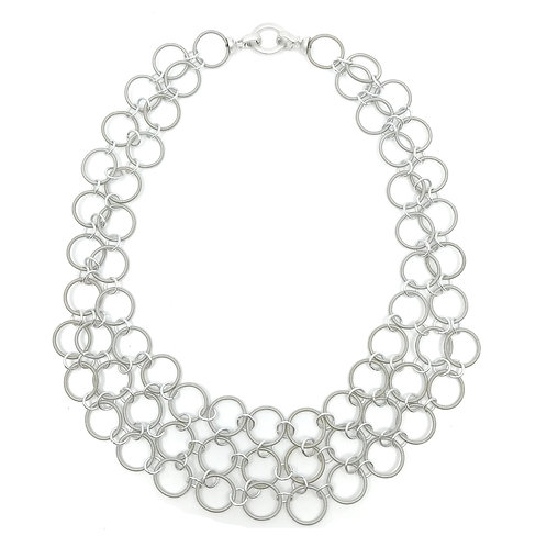 multi layer silver ring necklace