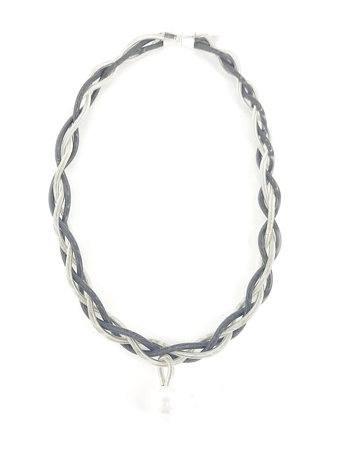 silver-black braided necklace with white pearl drop