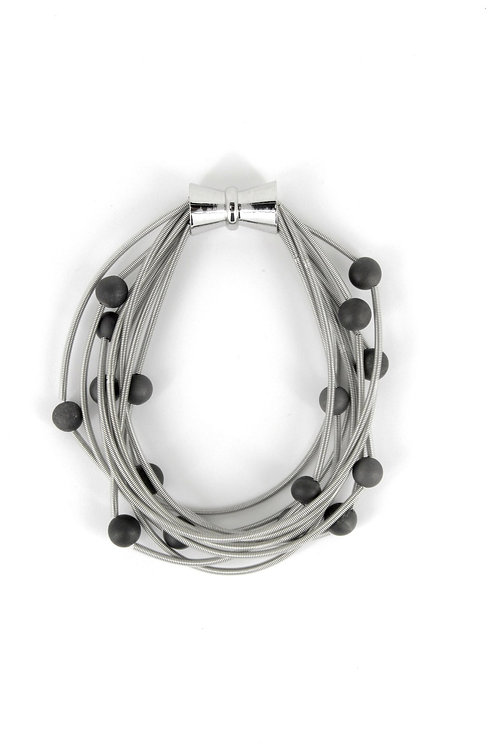 10 layer silver bracelet with gray geo