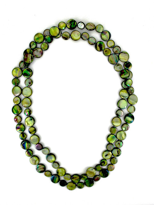 mother of pearl single strand necklace moss
