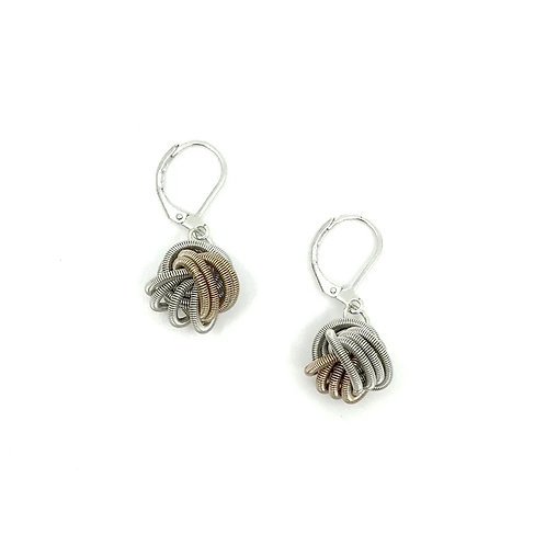 Champagne/silver piano wire knot earring