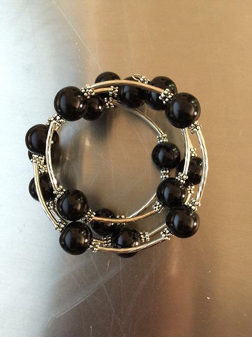 black shell pearl wrap bracelet