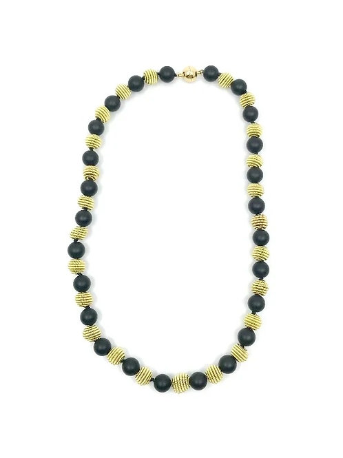 short matte black onyx necklace with gold coil