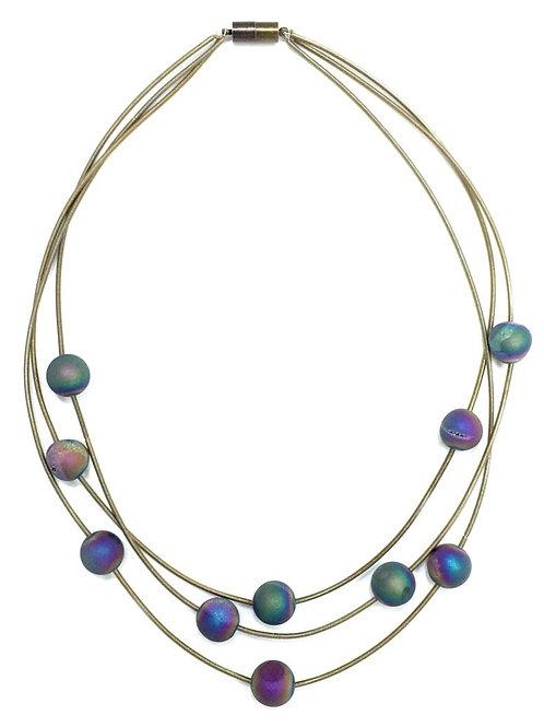 slate 3 strand piano wire necklace with layered irri geo