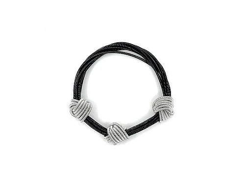black and silver piano wire small knot bracelet