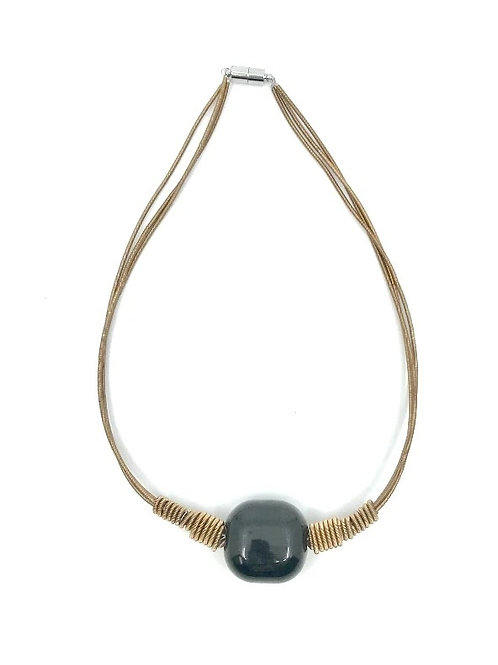 3 strand short champagne p.w. necklace with black porcelain square bead