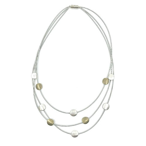 3 strand tiered p.w. necklace with silver and gold discs