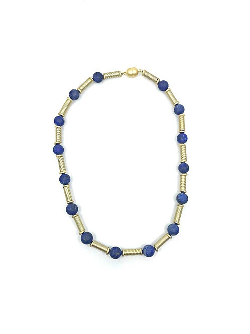 short gold tube necklace with lapiz