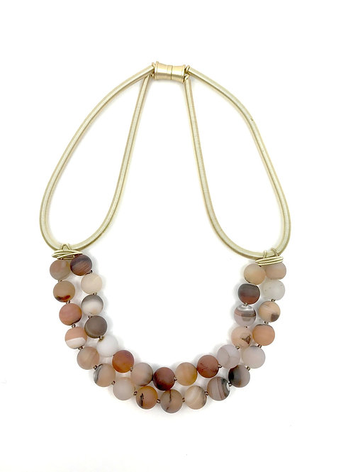 gold wire necklace with 2 layer rose geode stones