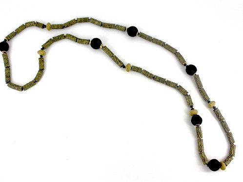 long slate flower hematite necklace with black glass beads
