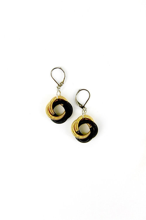 black-bright gold floating knot earring