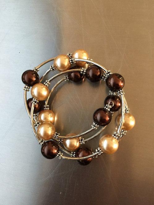 brown/champagne shell pearl wrap bracelet