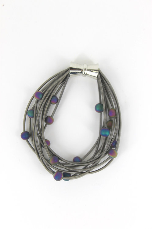 10 layer slate bracelet with irri geo