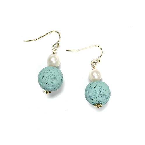 Turquoise lava earrings with pearl