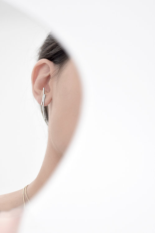 Crescent Ear Studs Satin Silver