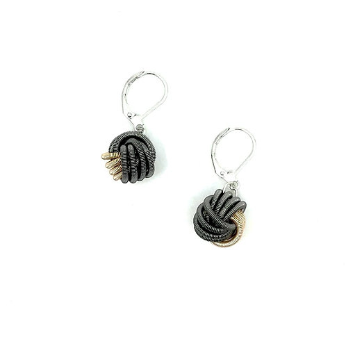 Champagne/slate piano wire knot earring