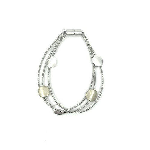 3 strand wire bracelet with silver/gold dics