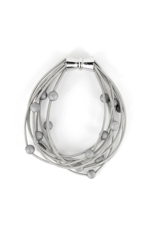 10 layer silver bracelet with silver geo