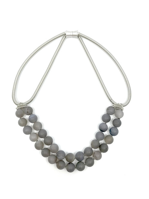 silver wire with 2 layer grey geode stones