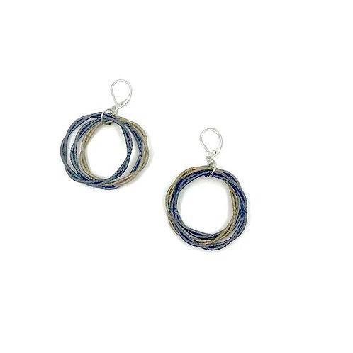 slate/bronze twist loop earrings