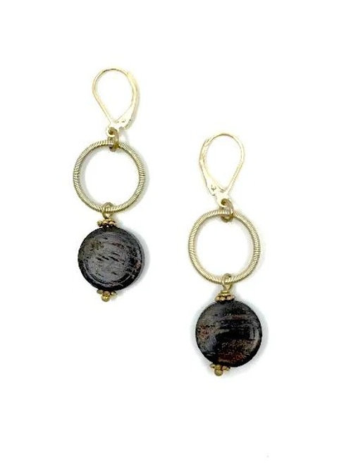 gold loop earring with wood drop