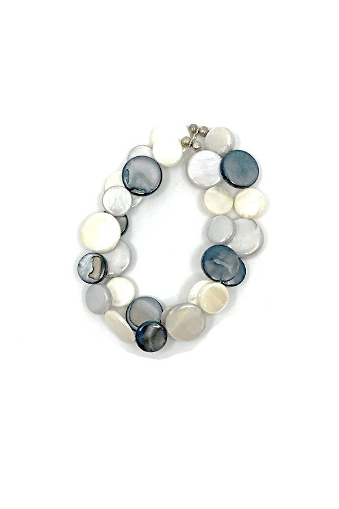 mother of pearl bracelet black and white