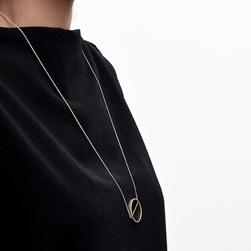 Tilt Long Necklace (Satin Gold)