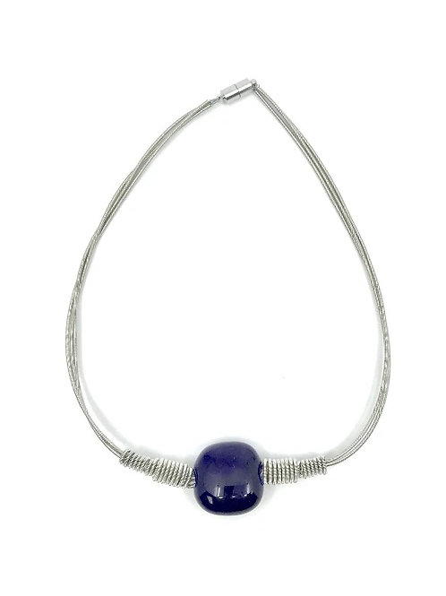 3 strand short silver p.w. necklace with royal blue square bead